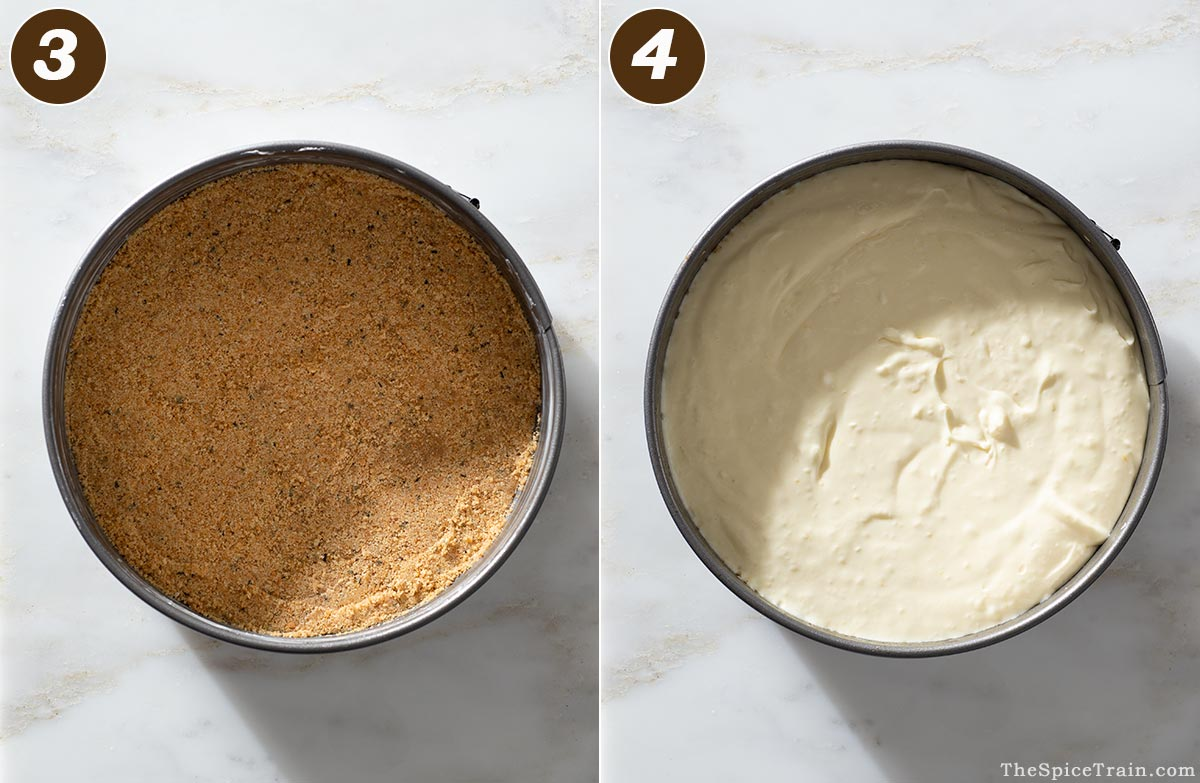 Graham cracker crust and cheesecake batter in a springform pan.
