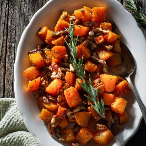 Roasted butternut squash with rosemary.