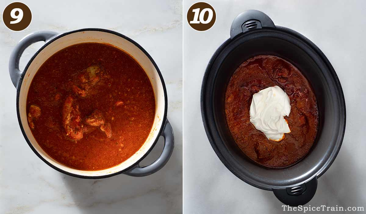 Chicken curry with tomato sauce in a Dutch oven and a slow cooker.