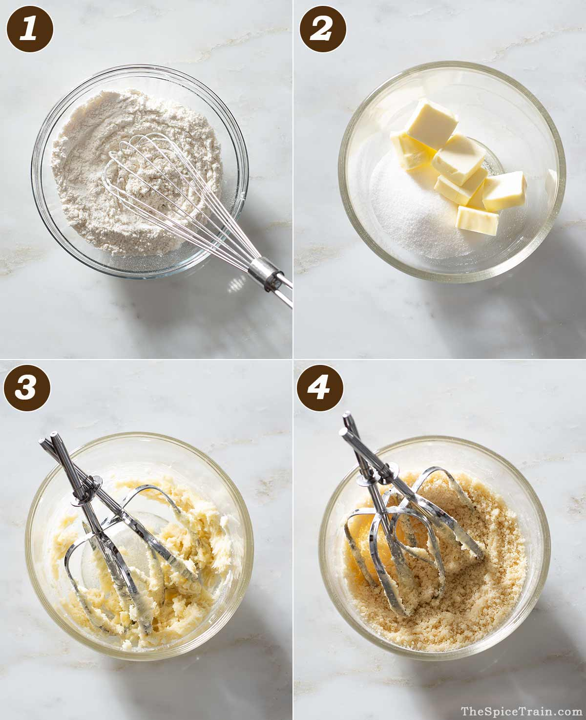Cookie dough being prepared in four steps.