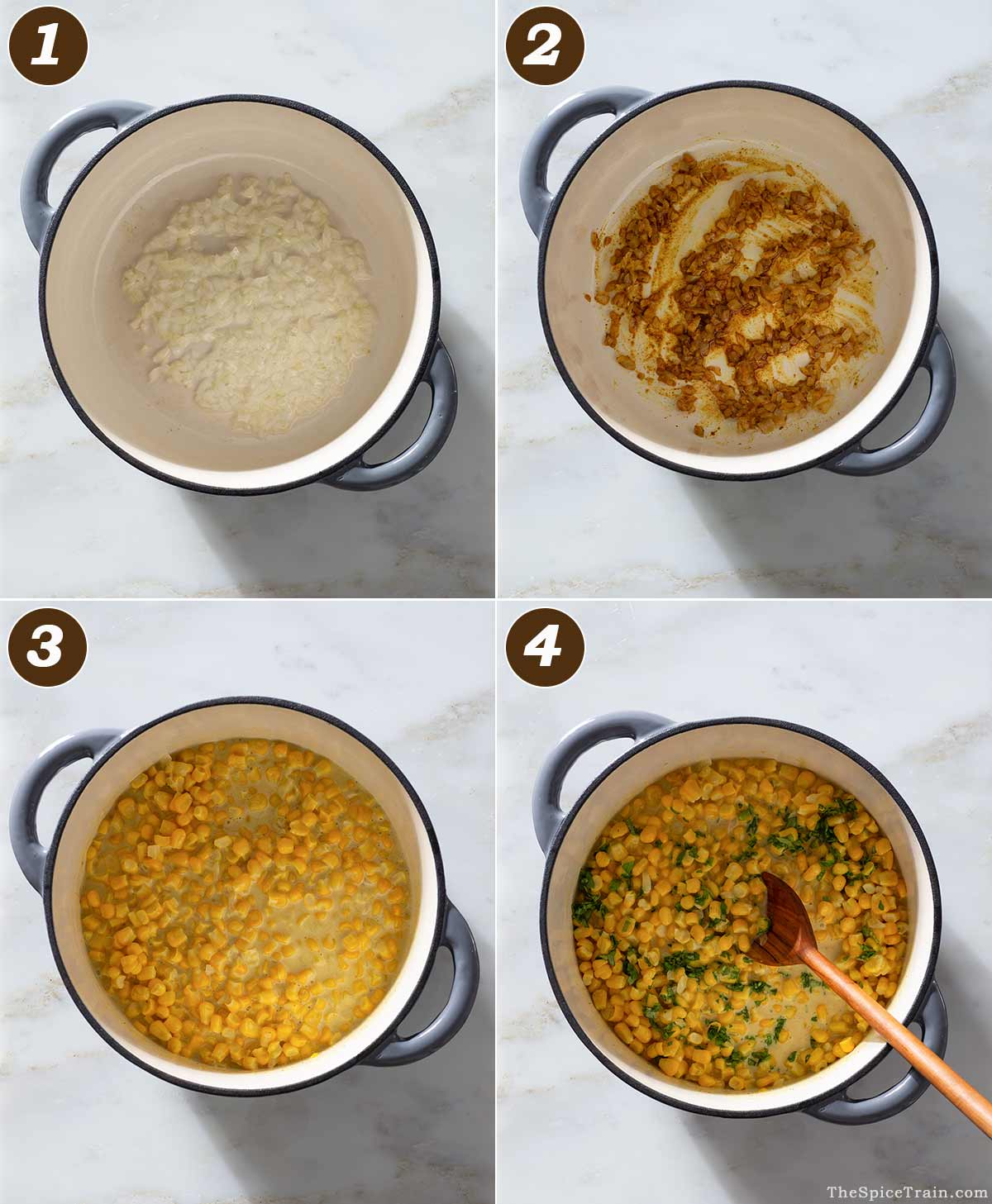 Curried corn being prepared in four steps in a Dutch oven.