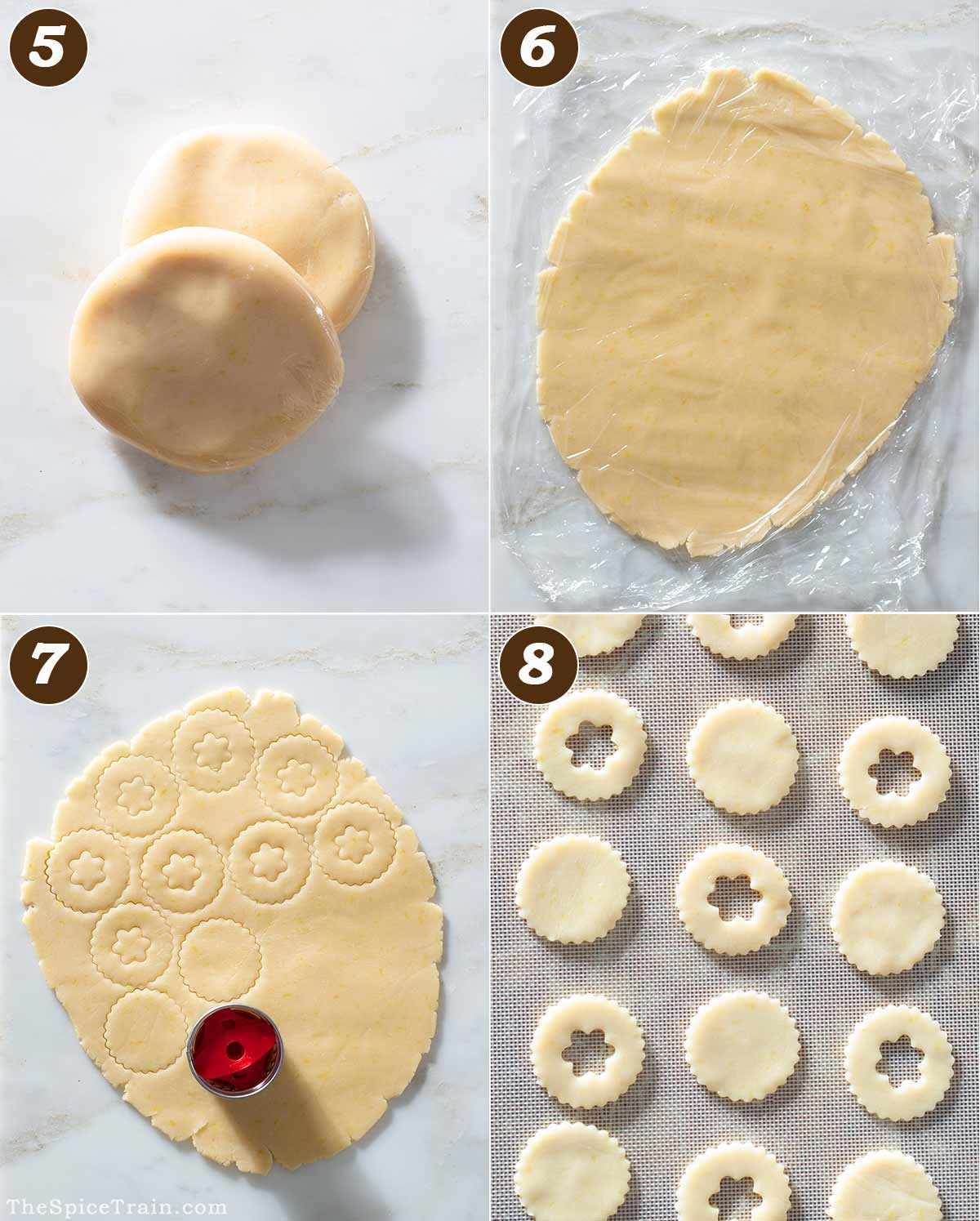 Lemon cookie dough being rolled and cut out in four steps.