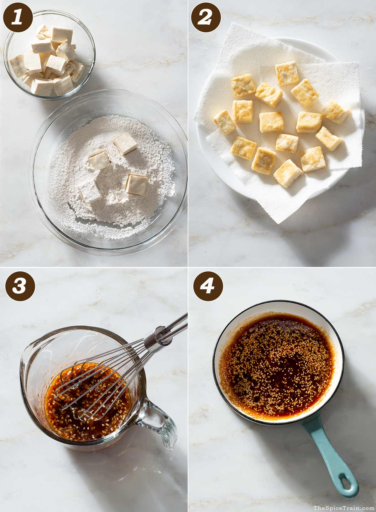 Raw and fried tofu cubes and sesame sauce before and after cooking.