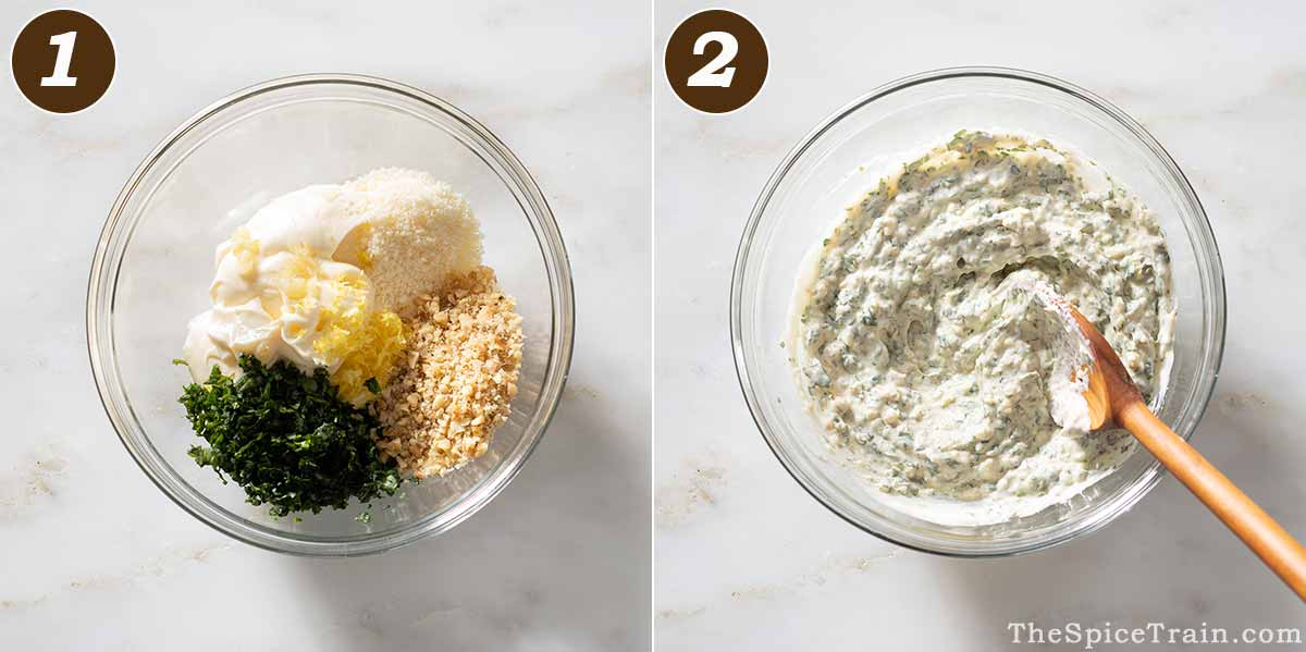 Pesto aioli ingredients in a bowl and stirred together.