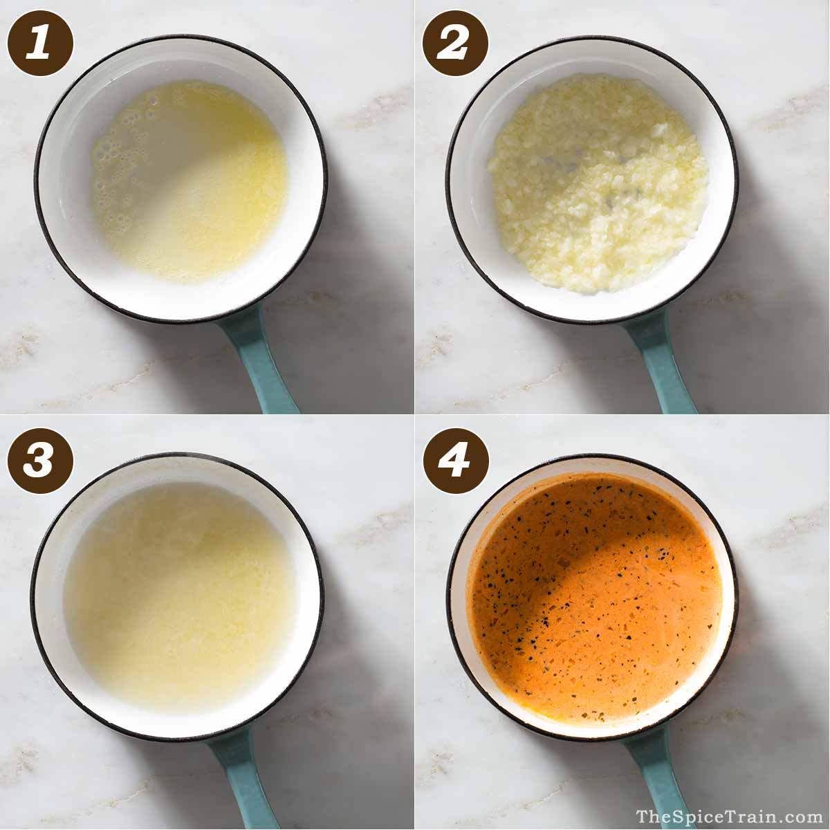 Rosemary vermouth cream sauce preparation in four steps.