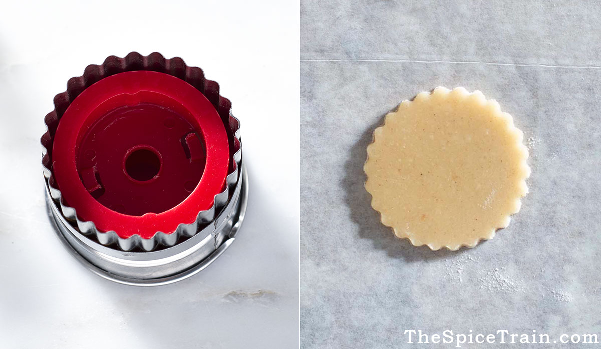 A Linzer cookie cutter and an unbaked cookie.