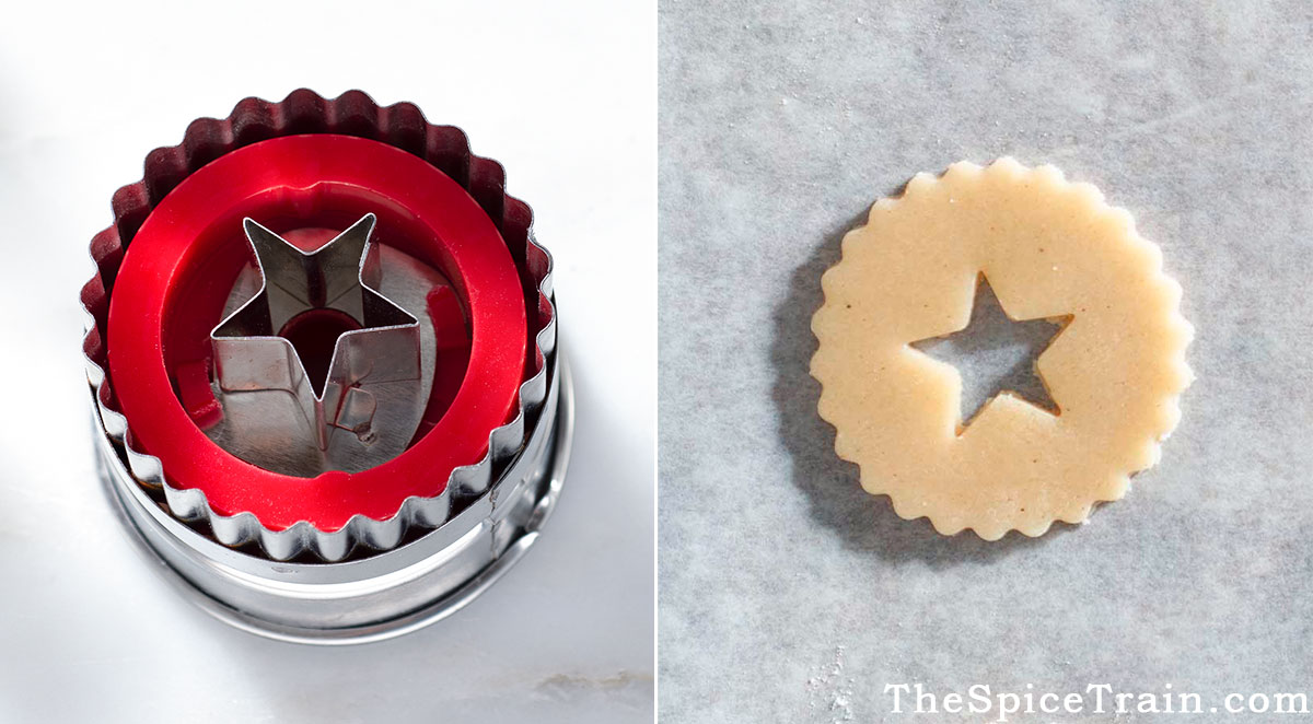 A Linzer cookie cutter and an unbaked Linzer cookie.
