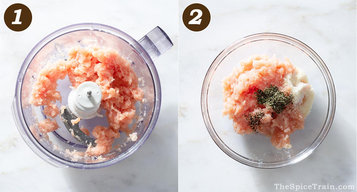 Ground chicken in a food processor and in a bowl.
