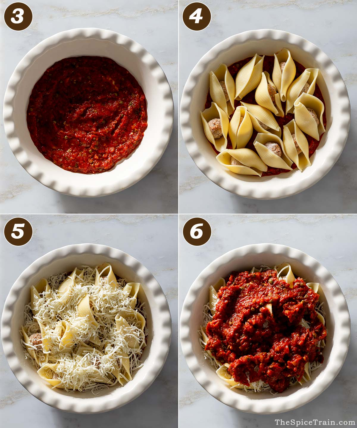 Baked pasta shell preparation in four steps.