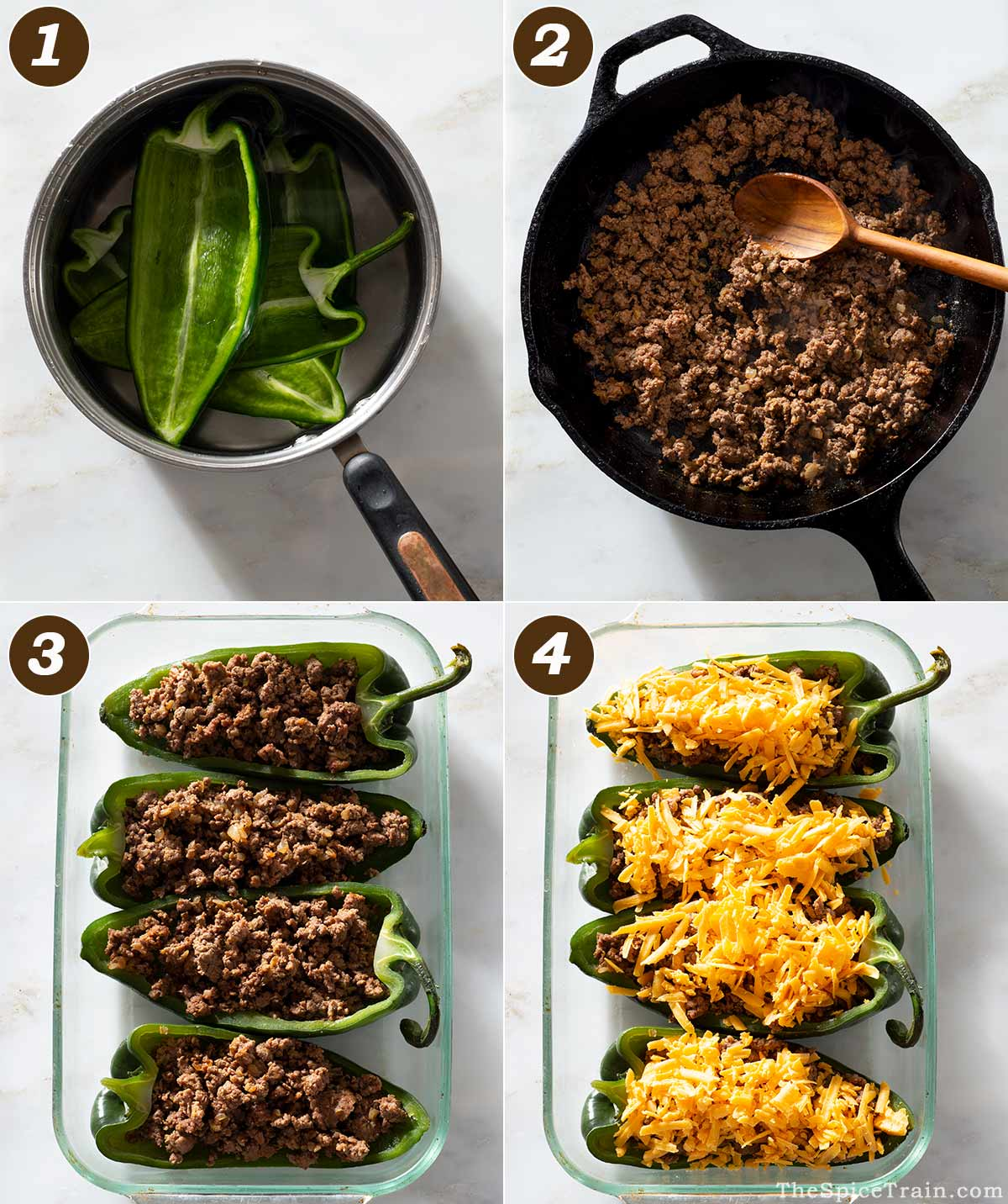 Beef-stuffed poblano pepper preparation in four steps.