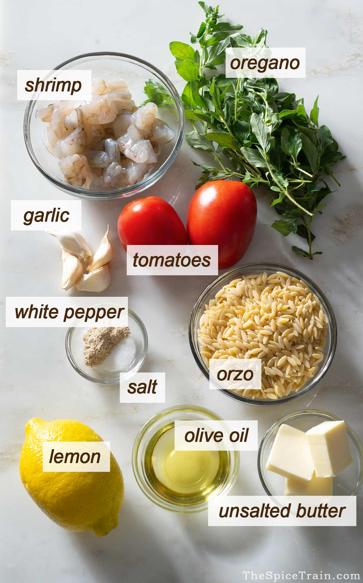 Orzo shrimp scampi ingredients on a kitchen counter.