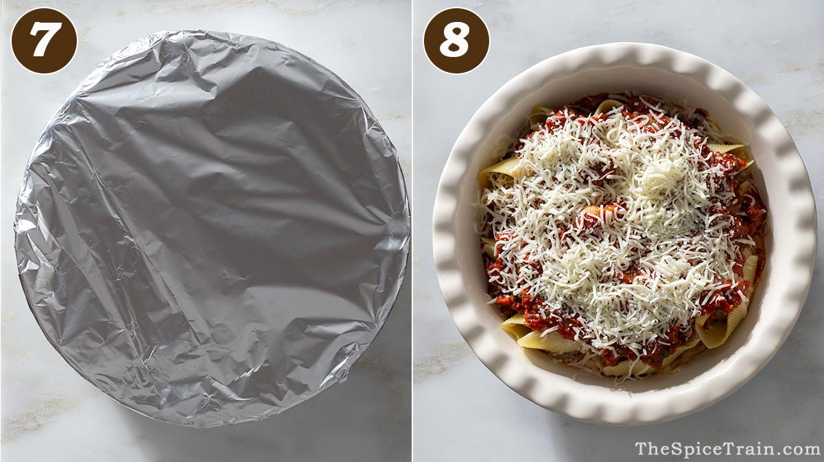 Pasta and tomato sauce in a baking dish covered and uncovered.