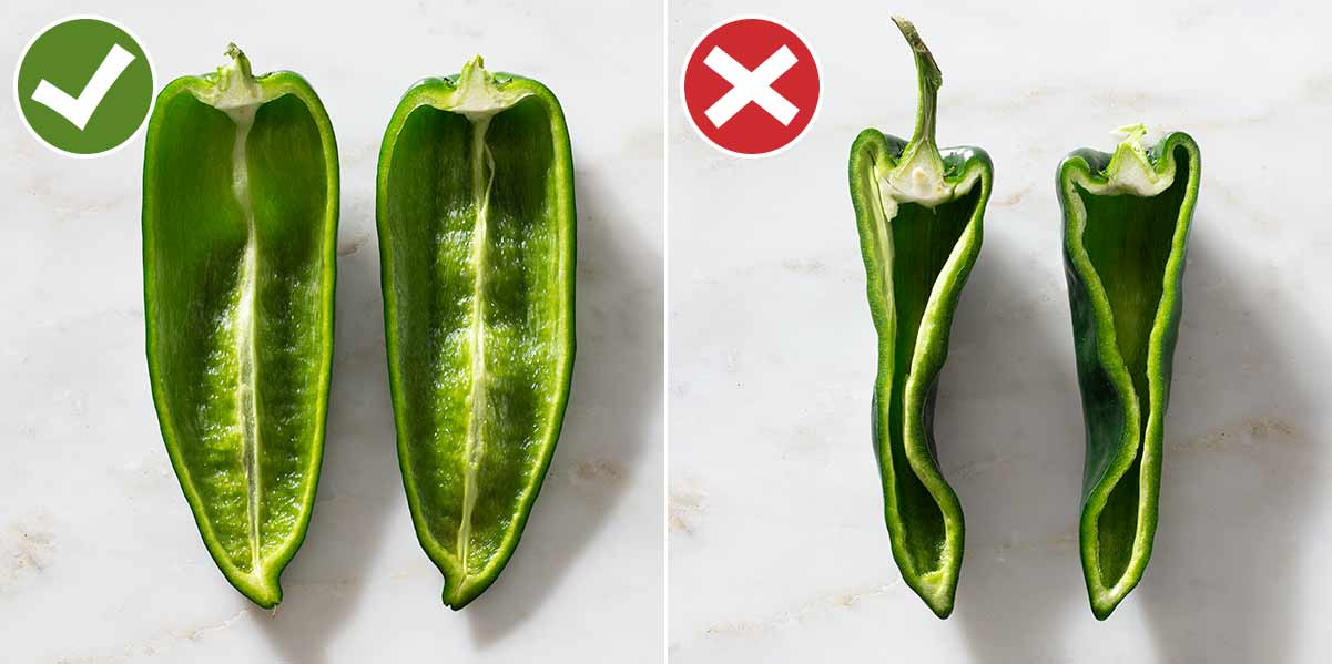 Raw poblano peppers cut in two different ways.