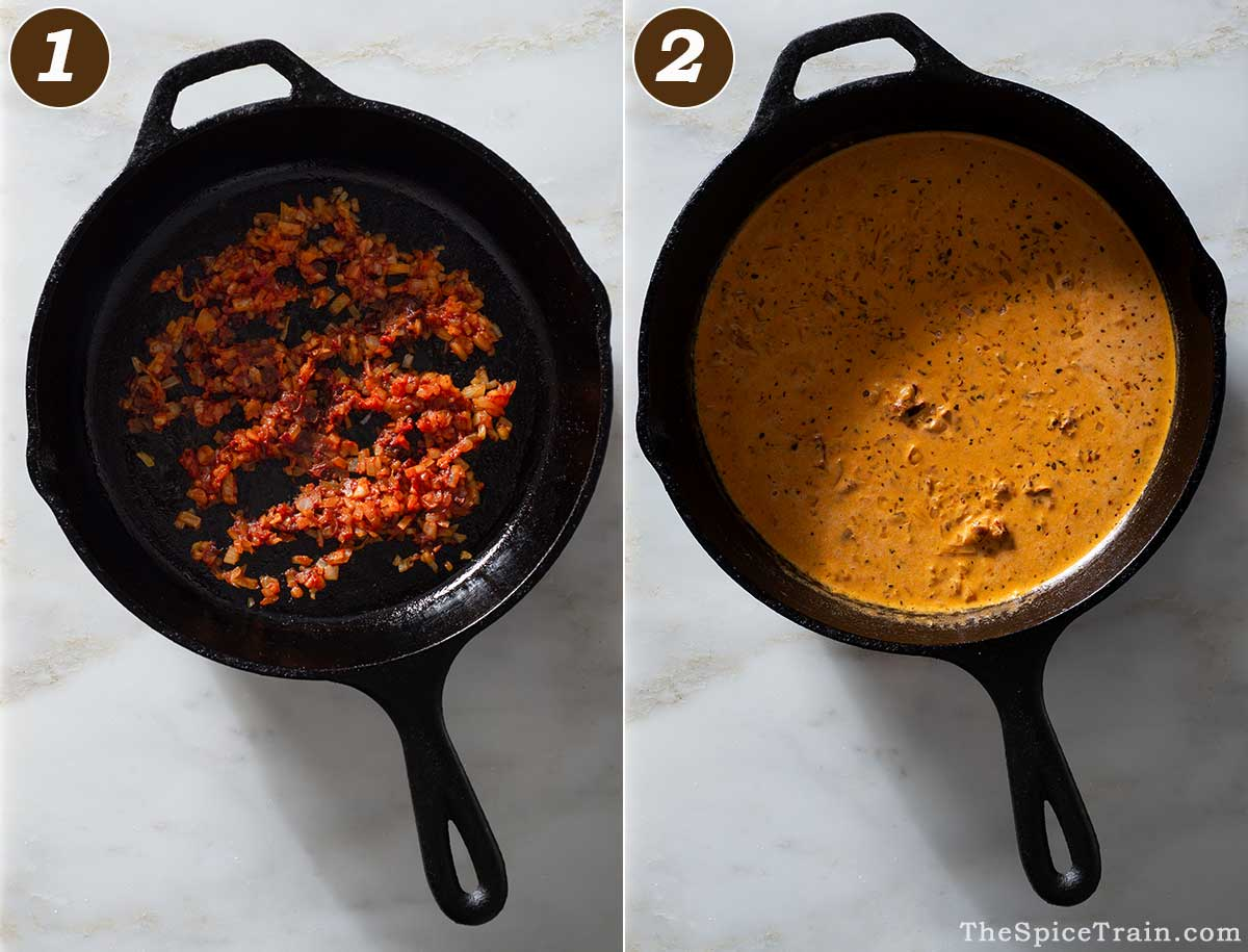 Chipotle cream sauce in a cast iron pan.