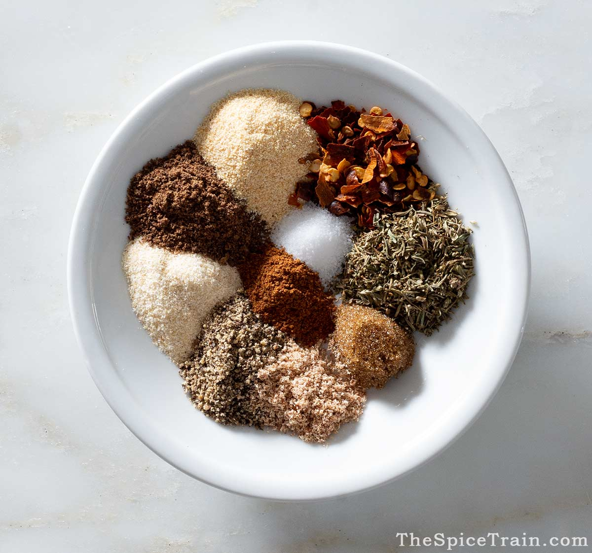 Jamaican jerk seasoning spices on a plate.