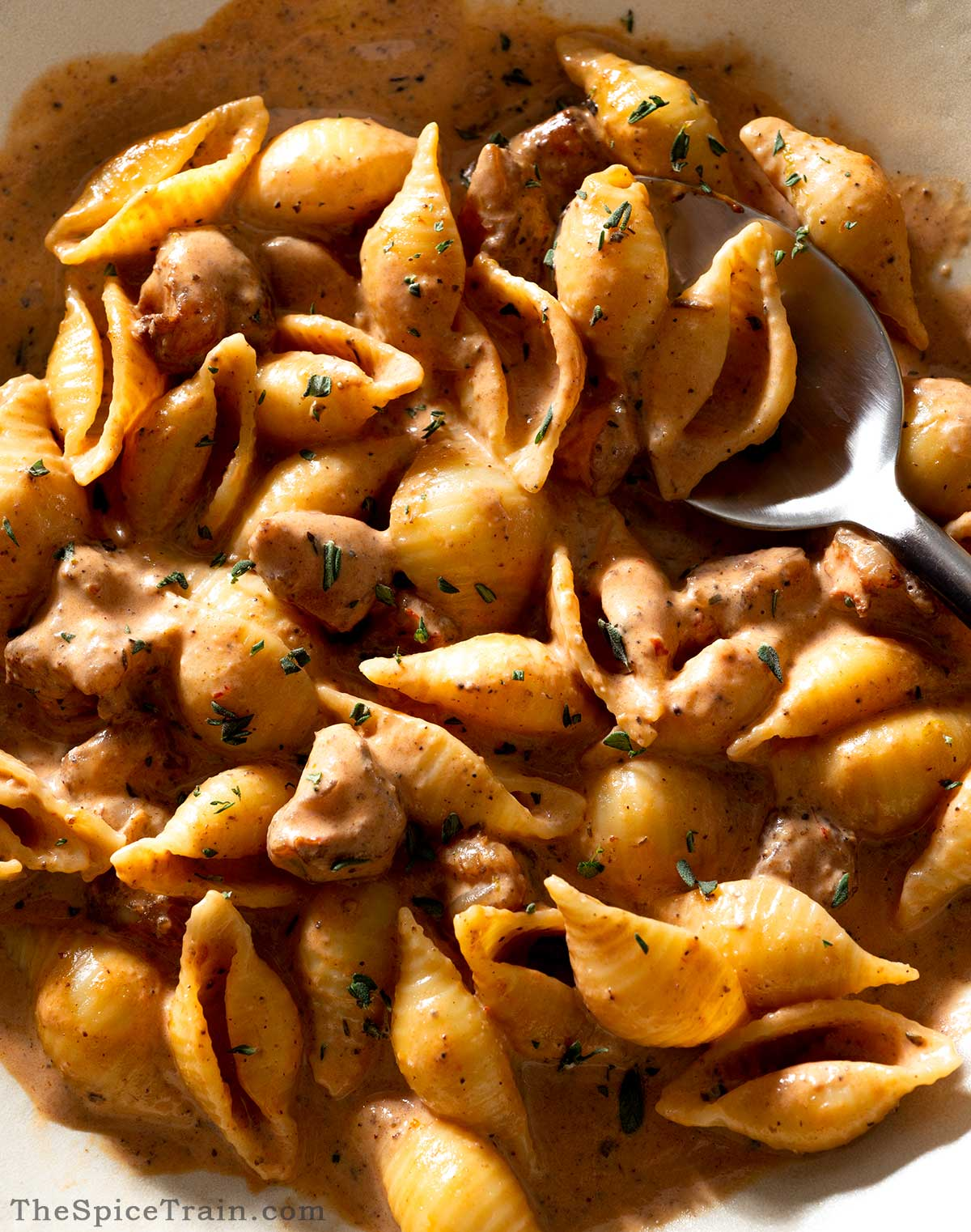 Pasta with a creamy shrimp tomato sauce on a plate.