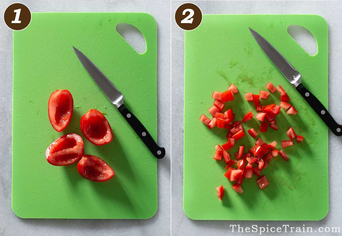 Quartered and diced tomatoes with a knife on a cutting board.