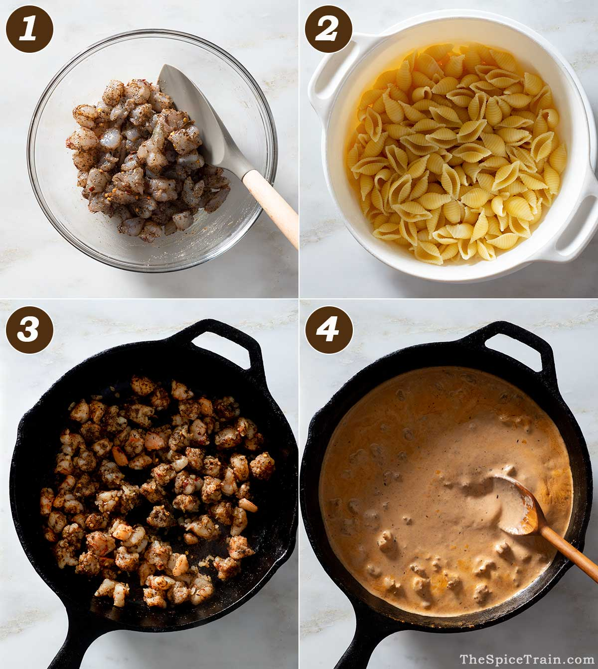 Shrimp pasta with tomato cream sauce being prepared in four steps.