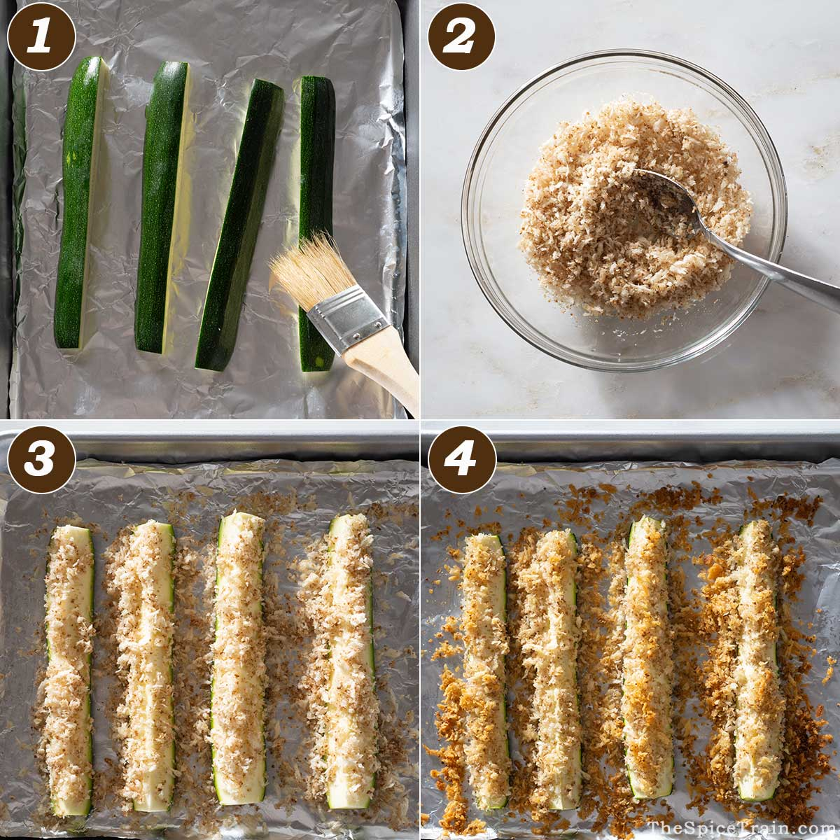 Breaded baked zucchini preparation in four steps.