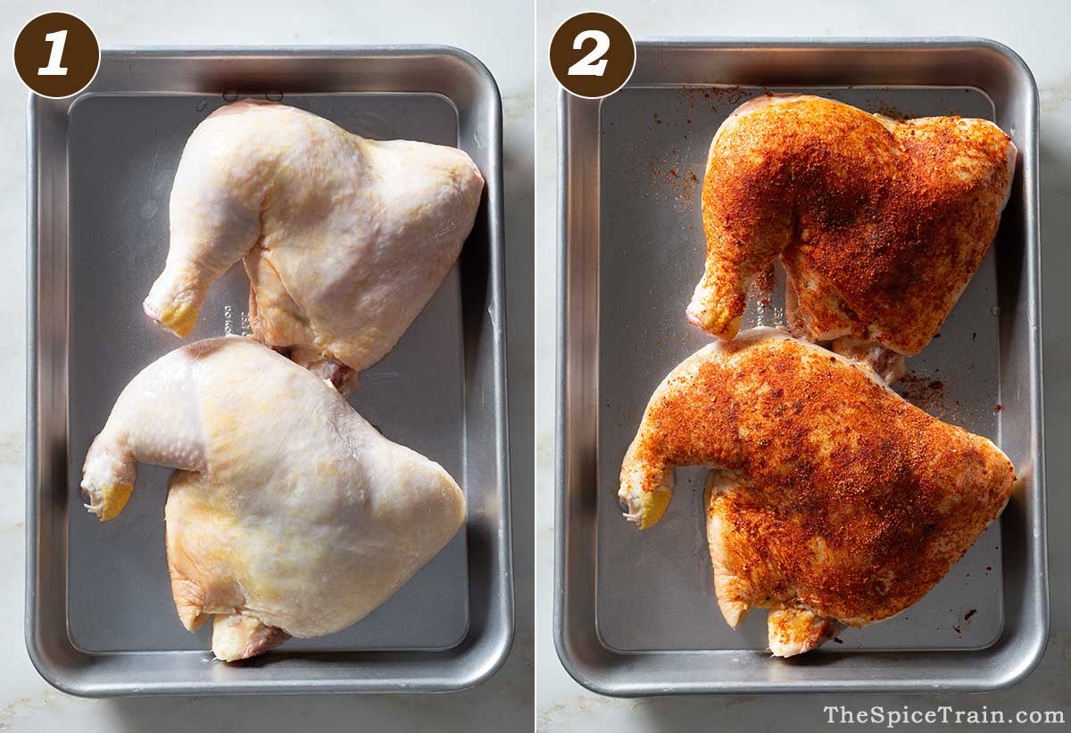 Two raw chicken leg quarters with and without spice rub.