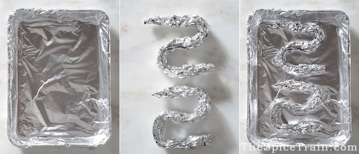 Foil-lined baking sheet with aluminum wire rack.