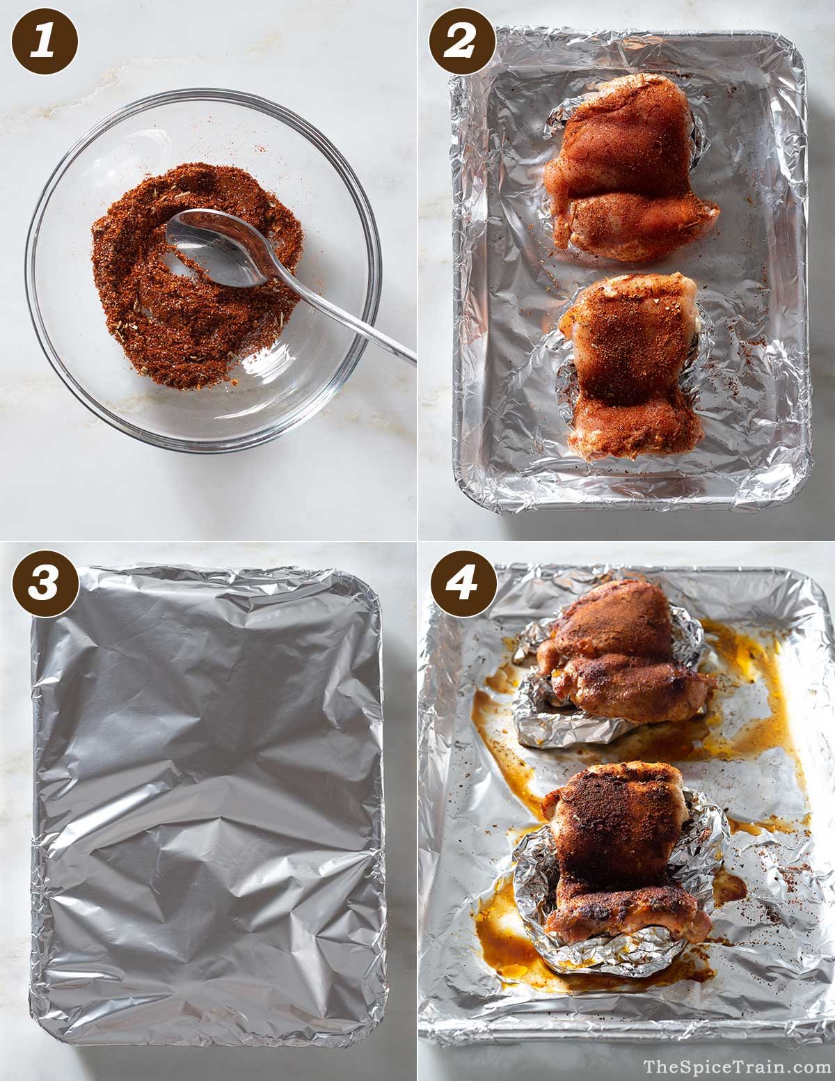 Spice-rubbed chicken thighs preparation in four steps.